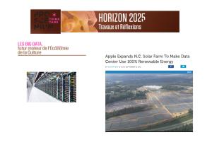 """Une """"ferme solaire"""" construite par Apple. Pour réduire le coût énergétique des datacenters et leur impact sur l'environnement, Apple s'est fixé pour objectif de les alimenter à 100 % en énergie renouvelable. Les besoins de ses fermes de serveurs sont tels, en la matière, que la firme doit investir massivement dans la production de sa propre électricité."""